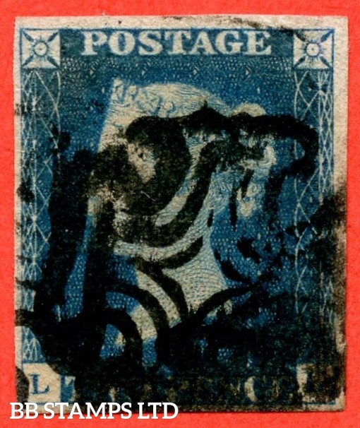 "SG. 5. D1 (2) uc. DS8. "" LL "". 2d blue. Plate 2. A good used example cancelled by a black maltese cross."