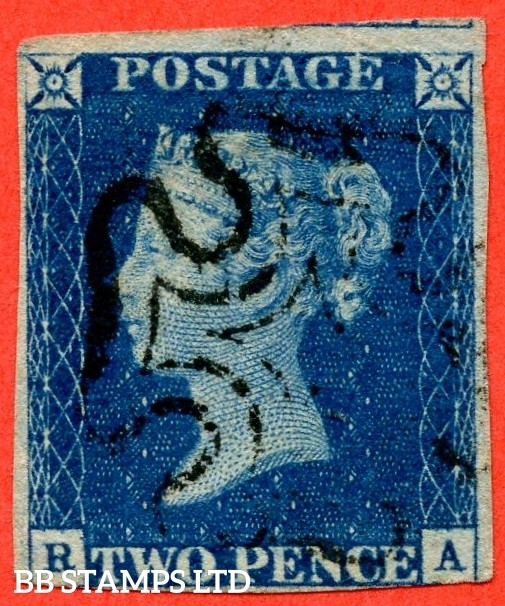 """SG. 4. D1 (1) uc. DS1. """" RA """". 2d deep blue. Plate 1. A fine used example with the """" Ray flaws 2 10 & 11 NE square """" variety."""