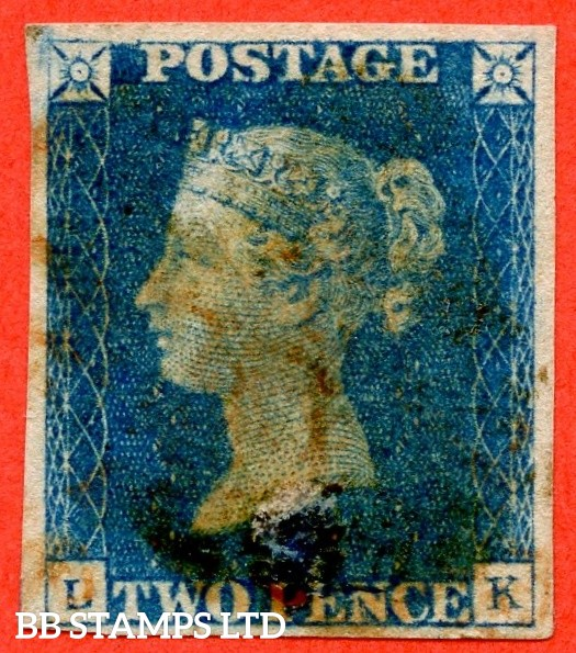 """SG. 5. D1 (2) ua. DS5. """" LK"""". 2d blue. Plate 1. A used example with the """" Ray flaw 10 NE square and slight burr rub over ' PO ' of ' POSTAGE ' """" varieties. Fault at base but a good looking spacefiller."""