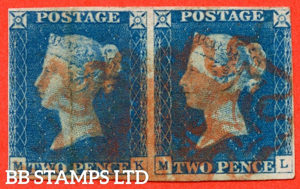 """SG. 5. Variety D1 (6) ua. DS6A. """" MK ML """". 2d bright blue. Plate 1. A fine used horizontal pair with the """" Ray flaws 2 10 & 11 NE square. ' TW ' of ' TWO ' joined and dent to ' O ' of ' ONE ' varieties. ' MK ' vertical crease."""