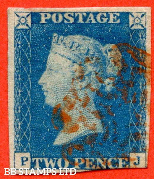 "SG. 6. D1 (3) ua. DS1 e. "" PJ "". 2d pale blue. Plate 1. A very fine used example with the "" ' TW ' of ' TWO ' joined and dent to ' O ' of ' ONE ' varieties."
