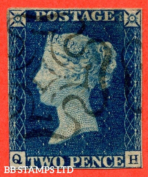 """SG. 4. D1 (1) uc. DS1. """" QH """". 2d deep blue. Plate 1. A fine used example."""