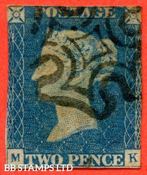 """SG. 6. D1 (3) uc. DS6. """" MK """". 2d pale blue. Plate 1. A fine used example with the """" Ray flaws 2 10 & 11 NE square. ' TW ' of ' TWO ' joined and dent to ' O ' of ' ONE ' """" varieties. Minor fault and a great spacefiller."""