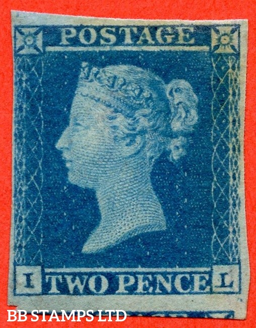 """SG. 14. E1 (2). ES14. """" IL """". 2d blue. Plate 4. A decent mint example of this scarce early Victorian issue."""