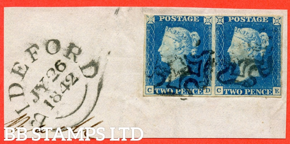 "SG. 6 a. D1 (3) j uc. DS6. "" CD CE "". 2d pale blue. Plate 1. A fine used horizontal pair. ' CD ' with the listed "" ' D ' doubled "" variety. Also with "" ' TW ' of ' TWO ' joined and dent to ' O ' of ' ONE "" varieties."
