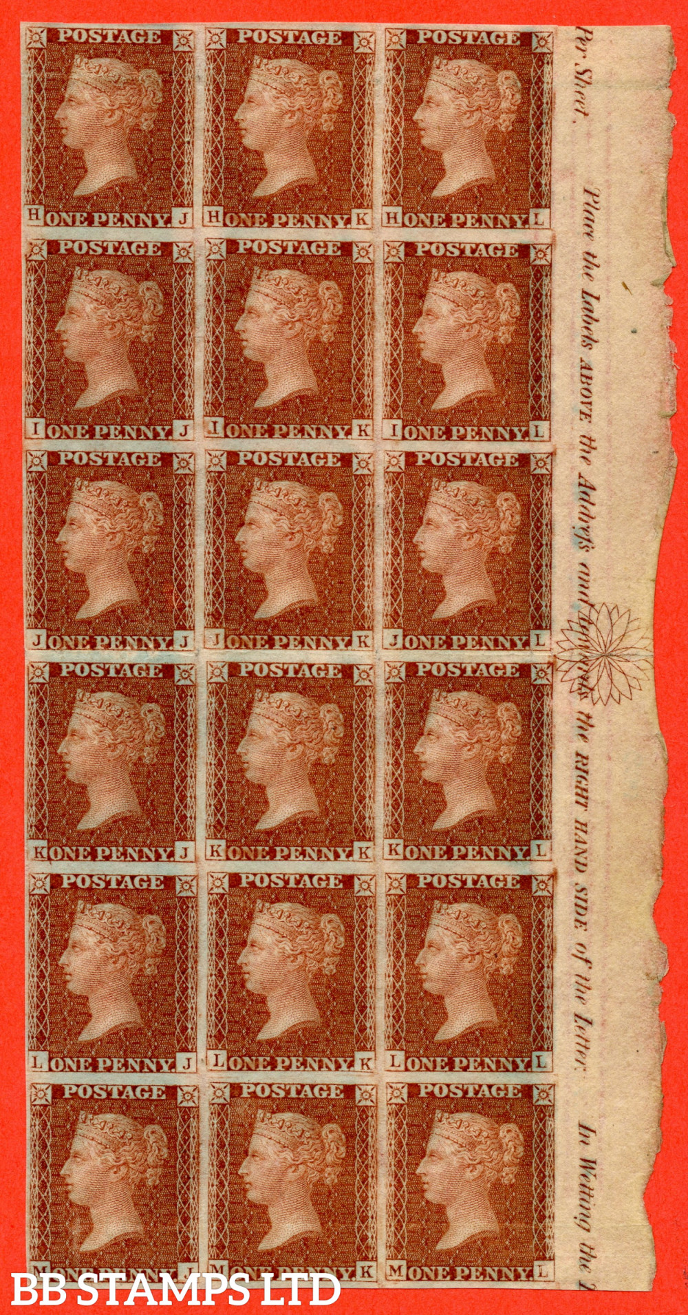 """SG. 29a C6 (1) h. """" HJ - ML """". 1d Red-brown. Plate 22.  A superb right hand marginal block of 18 from the NEALS STEAM PRESS EXPERIMENTAL PRINTING. Complete with HOLCOMBE certificate and a VERY RARE multiple."""
