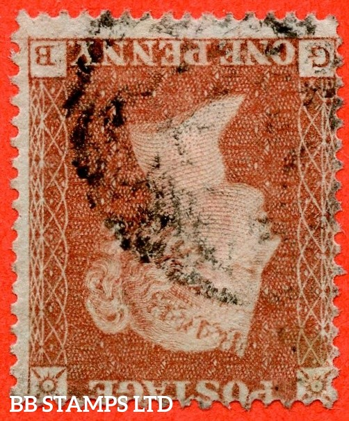 """SG. 16bwi. CE2d. """" GB """". 1d Red - brown from ARCHER plate 100. INVERTED WATERMARK. A fine used example of this RARE Victorian watermark variety. This being only the 2nd recorded example from this plate."""