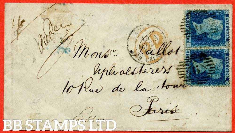 """SG. 19. F1 (1). """" RI RJ """". 2d deep blue. Plate 4. A fine used horizontal pair on cover from LONDON which was redirected from PARIS to PASSY dated 13th March 1855."""
