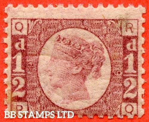"""SG. 48/49. G4. """" RQ """". ½d rose - red plate 19. A fine UNMOUNTED MINT example."""