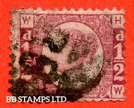 """SG. 48/49. G4. """" HW """". ½d Rose - red plate 9. An average used example of this difficult plate number."""