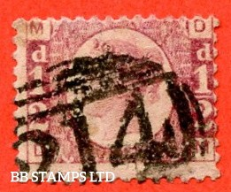 """SG. 48/49. G4. """" DM """". ½d Rose - red plate 9. A good used example of this difficult plate number."""
