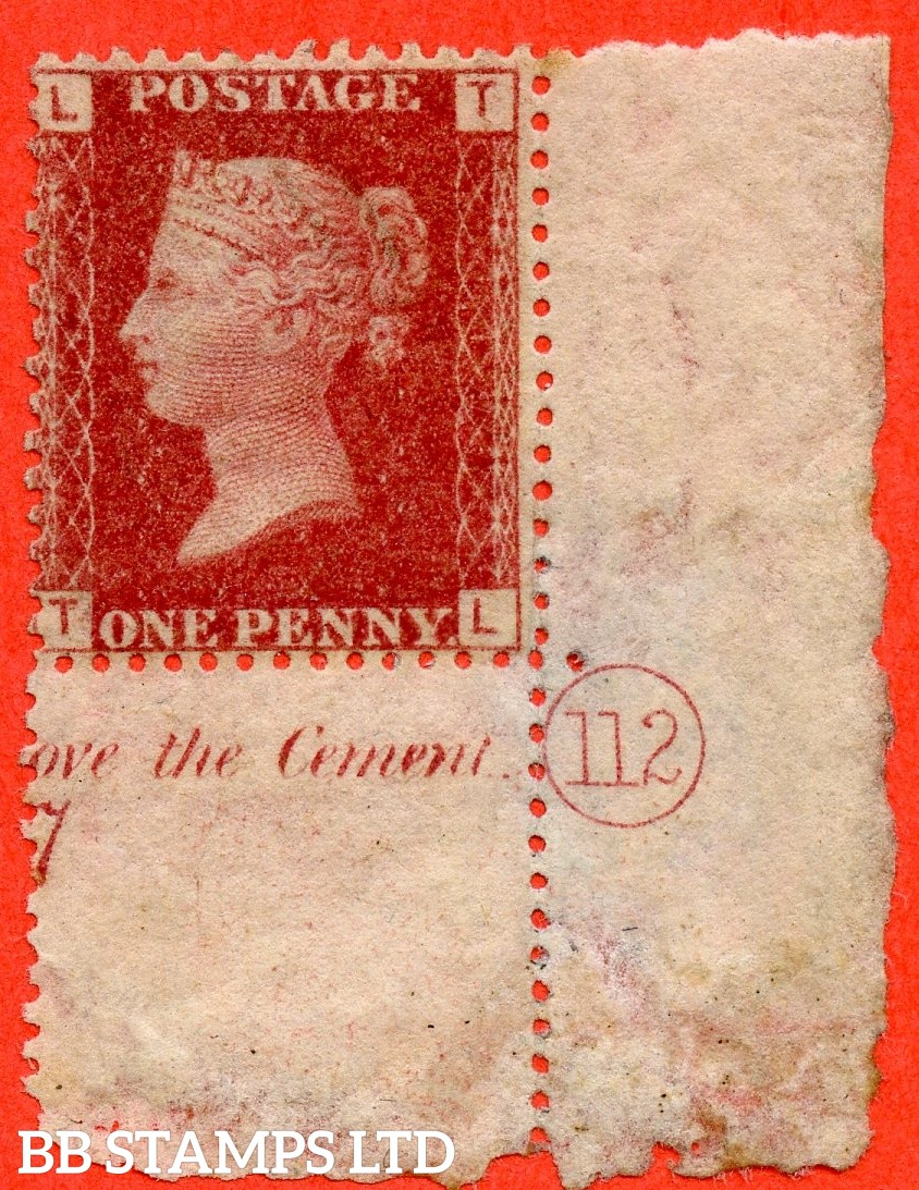 """SG. 43/44. G1. """" TL """". 1d rose - red plate 112. A fine mounted mint bottom right hand corner marginal example showing the plate number."""