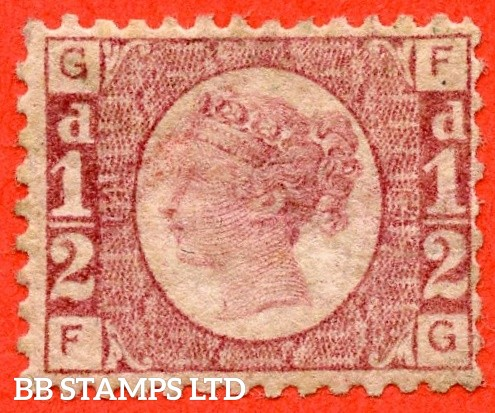 """SG. 48/49. G4. """" FG """". ½d rose - red plate 14. A fine UNMOUNTED MINT example."""
