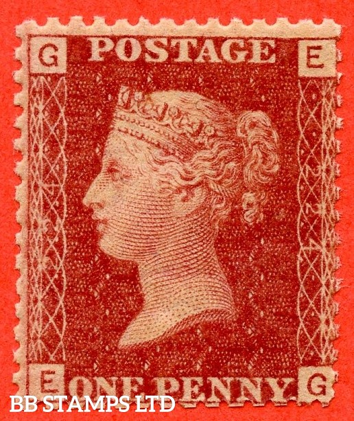"""SG. 43/44.G1.  """" EG """" 1d red. Plate 224. A very fine UNMOUNTED MINT example."""