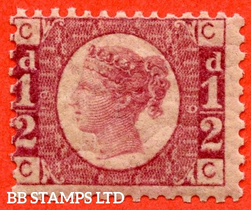 """SG. 48/49. G4. """" CC """". ½d rose - red plate 19. A fine UNMOUNTED MINT example."""