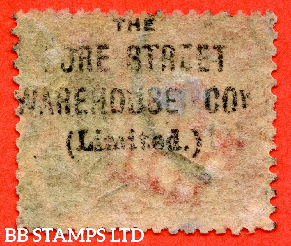 """SG. 43/44. PP67. """" MF """" 1d red. Plate 165. A good used example with the listed underprint """" The Fore Street Warehouse Coy. ( Limited )."""