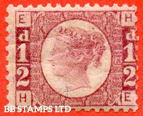 """SG. 48/49. G4. """" HE """". ½d rose - red plate 13. A fine UNMOUNTED MINT example."""