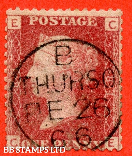 """SG. 43/44. G1. """" CE """" 1d red. Plate 81. A superb """" 26th February 1866 THURSO """" CDS used example."""