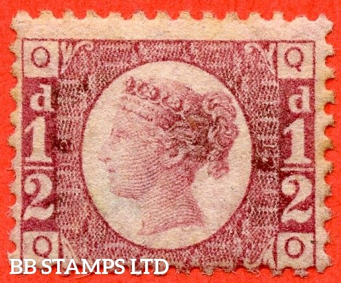 """SG. 48/49. G4. """" QO """". ½d rose - red plate 12. A mounted mint example."""