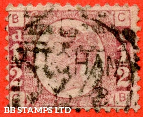 "SG. 48/49. G4. "" CB "". ½d Rose - red plate 9. A good "" MITCHAM "" CDS used example of this difficult plate number."