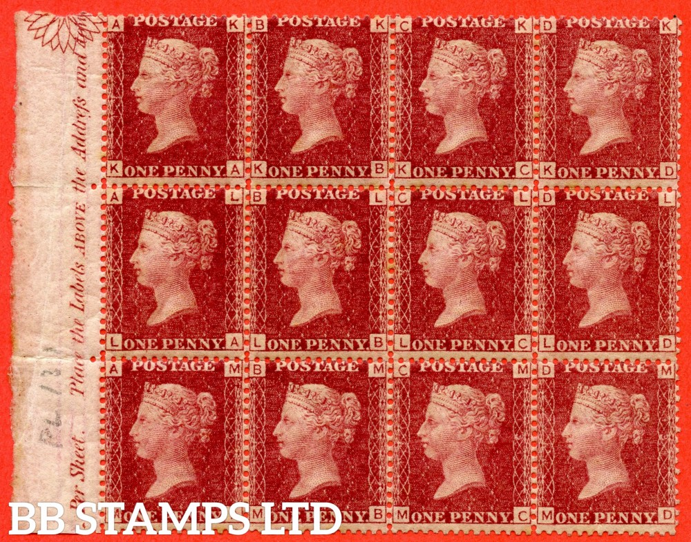 "SG. 43/44. "" KA - MD "". 1d rose - red plate 131. A very fine UNMOUNTED MINT left hand INSCRIPTIONAL amrginal block of 12."