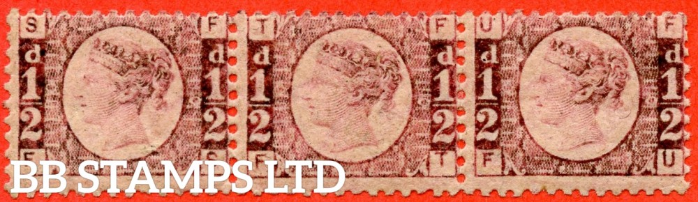 """SG. 48/49. G4. """" FS FT FU  """". ½d rose - red plate 10 . A fine UNMOUNTED MINT horizontal strip of 3 showing a complete ' HALFPENNY ' watermark."""