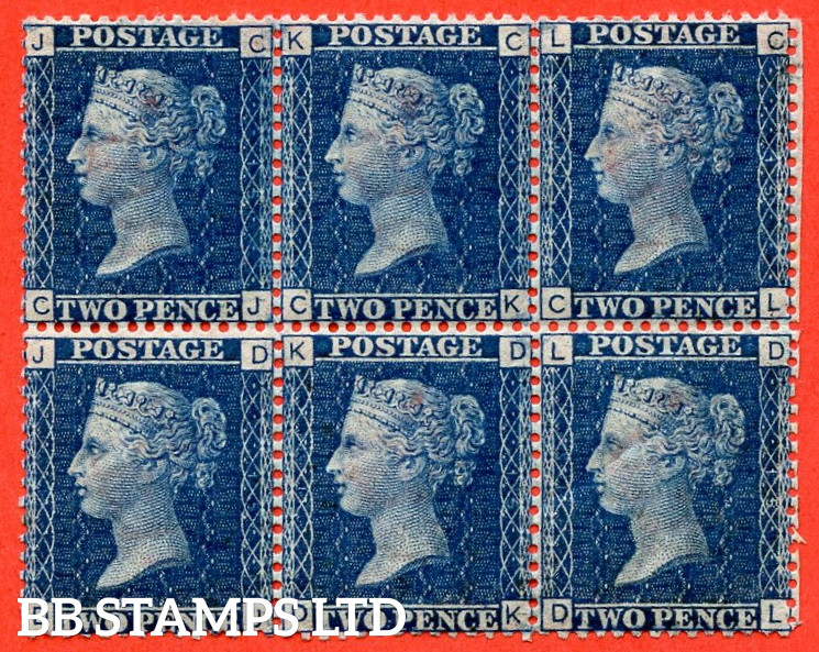 """SG. 47. G3 (2). """" CJ CK CL DJ DK DL  """". 2d deep blue. Plate 15. A very fine UNMOUNTED MINT block of 6. A very scarce multiple."""