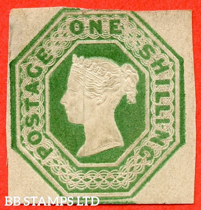 SG. 55. H1 (2). 1/- green. Die 2. A decent mounted mint example of this RARE mint victorian embossed issue.