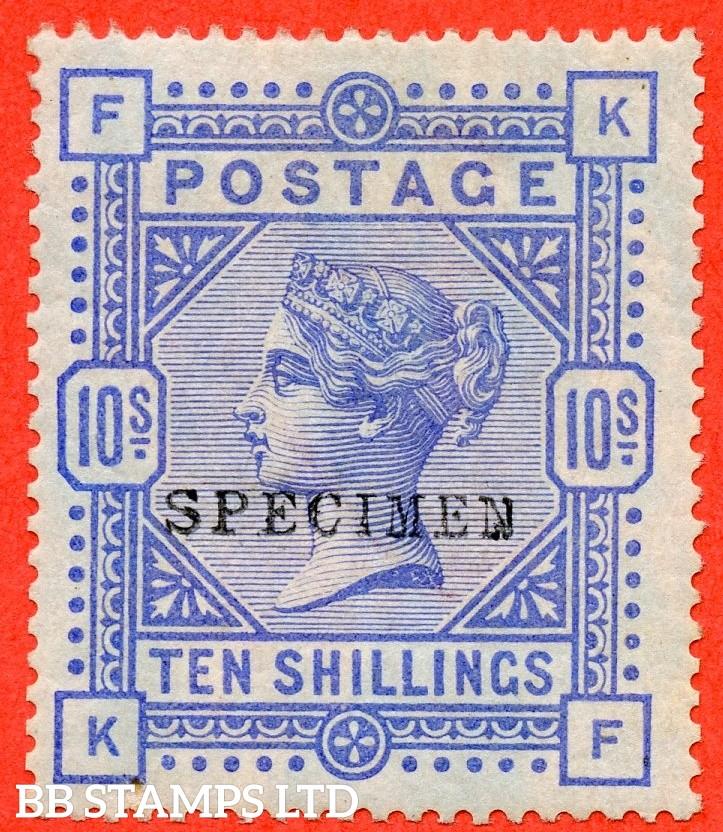 "SG. 177 s. K13 (1) s . "" KF "". 10/- Ultramarine ( blued paper ). A mounted mint example overprinted SPECIMEN type 9."