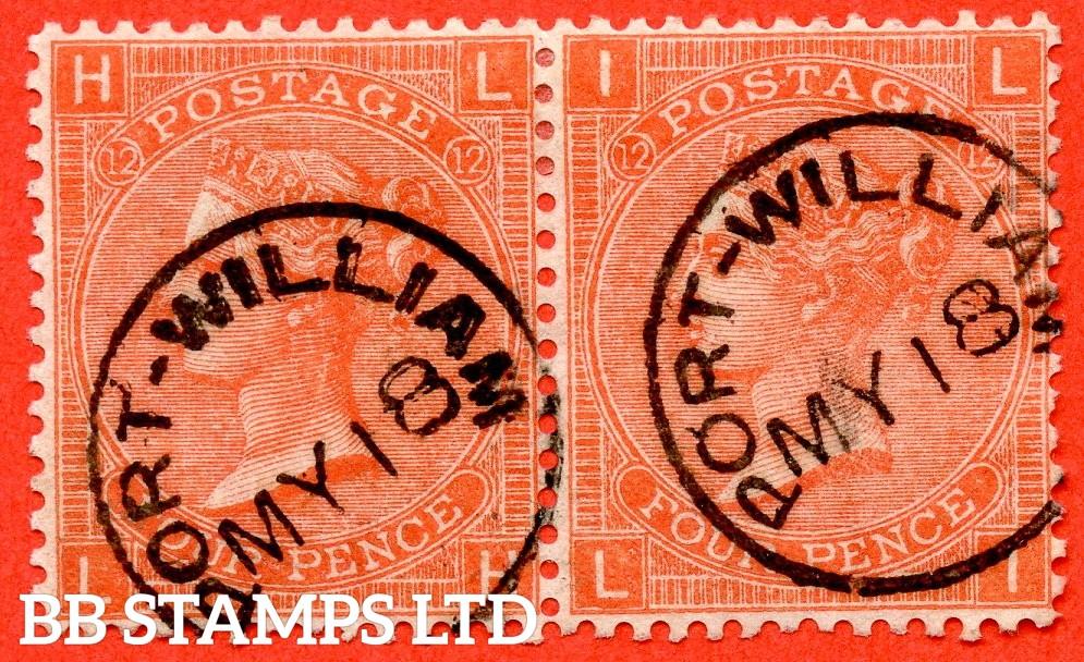 "SG. 95. J59. "" LH LI "". 4d Deep Vermilion. Plate 12. A superb "" 18th May PORT WILLIAM "" CDS used horizontal pair."