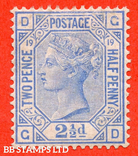 """SG. 142. J21. """" GD"""". 2½d Blue. Plate 19. A very fine UNMOUNTED MINT example."""