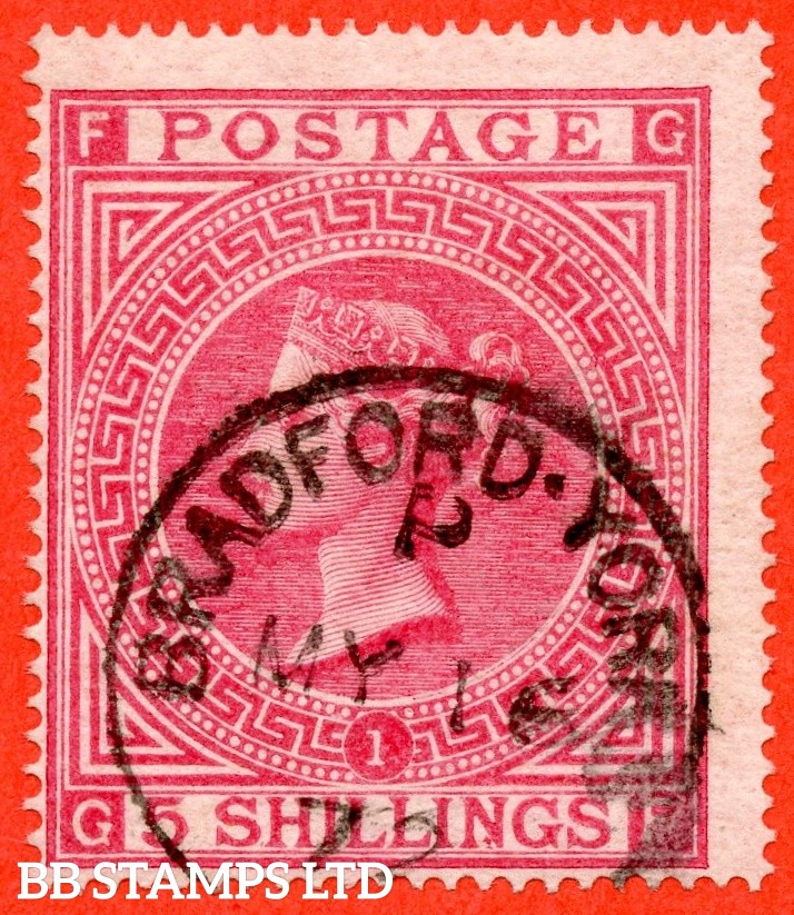 """SG. 126. J121 (1). """" GF """". 5/- Rose ( deep shade ). Plate 1. A very fine """" 16th May 1872 BRADFORD """" CDS used example."""