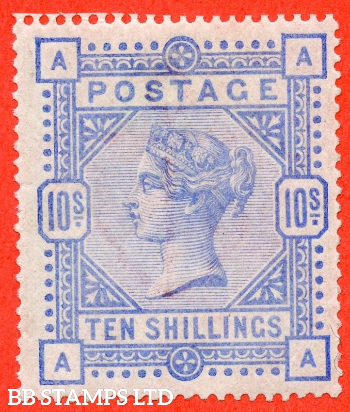 """SG. 183a. K14 (3). """" AA """". 10/- Pale ultramarine.  A fine mounted mint example of this more difficult shade."""