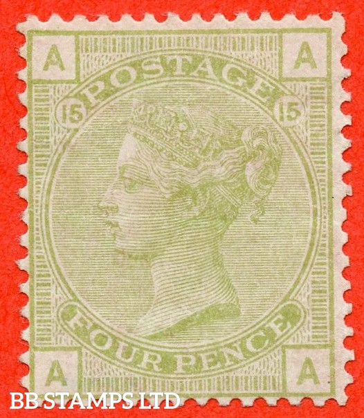 "SG. 153. J64. "" AA "". 4d Sage - Green. Plate 15. A very fine lightly mounted mint example."