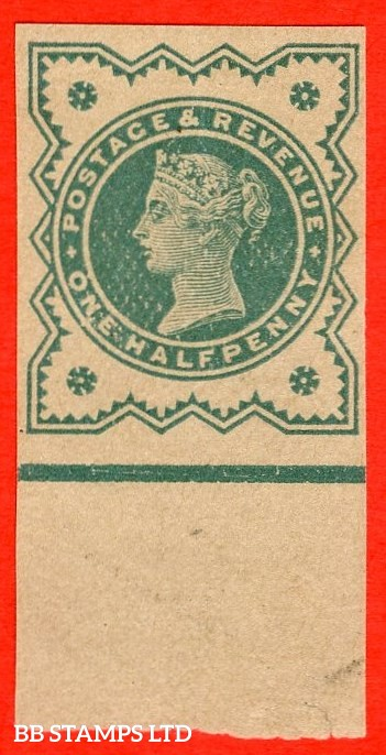 """SG. 213 variety ½d Blue - Green on buff paper. """" PLATE PROOF - IMPERF """". A very fine bottom marginal example."""