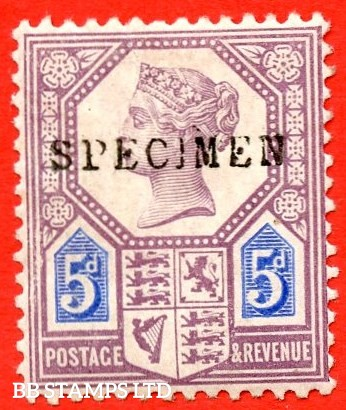 SG. 207s. K35s. 5d Dull Purple & Blue ( Die 1 ). A very fine UNMOUNTED MINT example overprinted by SPECIMEN type 9.