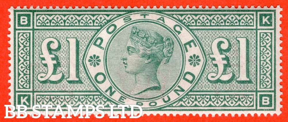 """SG. 212. K17. £1.00 Green """" KB """". A Super UNMOUNTED MINT example of this popular stamp."""