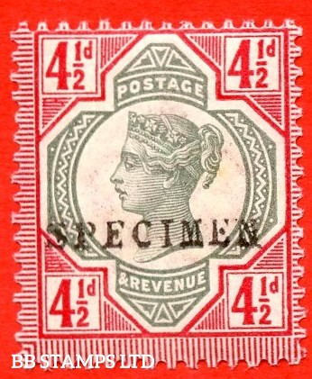 SG. 206 s. K34 (1) s. 4½d green & carmine. A very fine UNMOUNTED MINT example overprinted by SPECIMEN type 9.