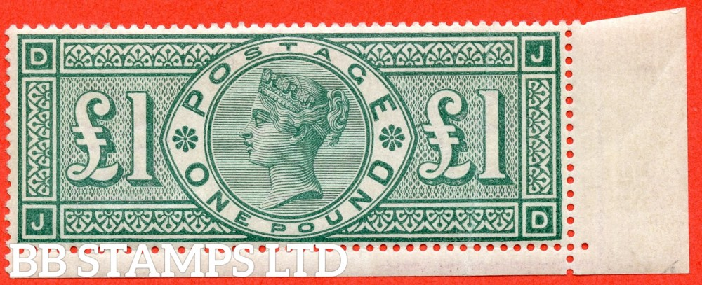 """SG. 212. K17. £1.00 Green """" JD """". An average mint example ( vertical crease ) of this popular stamp."""