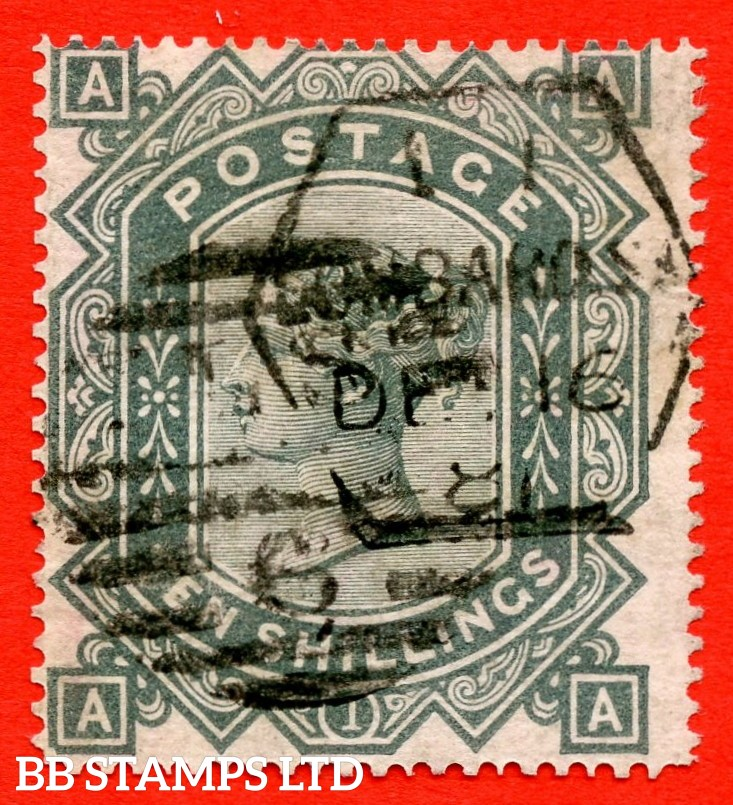 "SG. 128. J124. "" AA "". 10/- Greenish grey. A good used example of this popular early Victorian high value. Faults but a superior looking spacefiller."