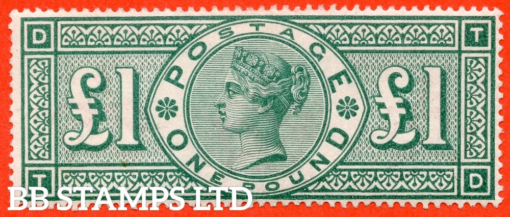 """SG. 212. K17. £1.00 Green """" TD """". A Super UNMOUNTED MINT example of this popular stamp."""
