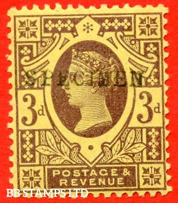 SG. 202s. K32 (1)s. 3d purple on yellow paper. A very fine UNMOUNTED MINT example overprinted by SPECIMEN type 9.
