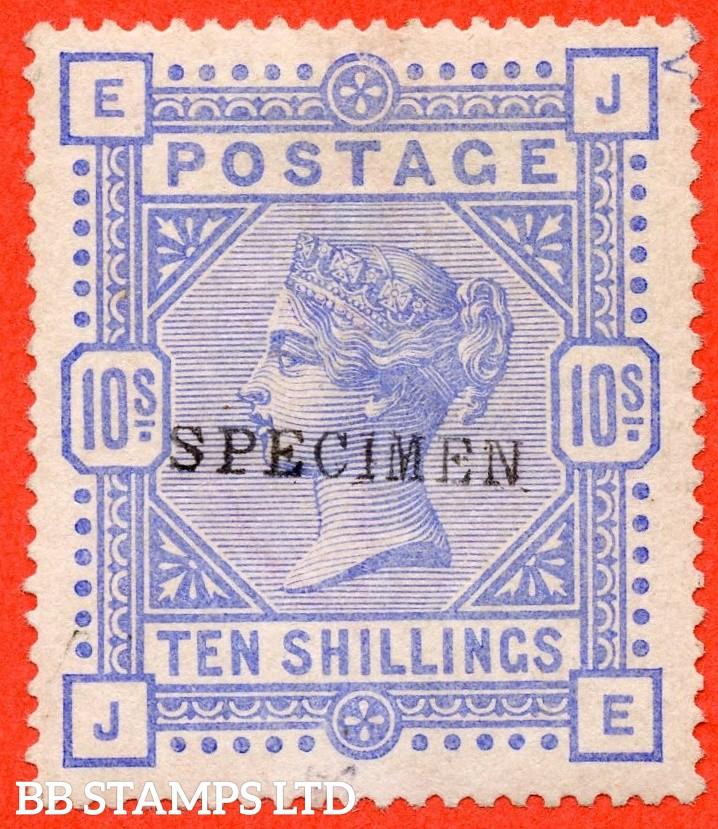 """SG. 182 s. K14 (1) u. """" JE """". 10/- Cobalt. A decent average mounted mint example overprinted SPECIMEN type 9."""
