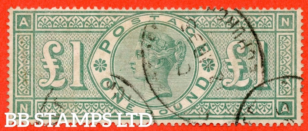 """SG. 212. K17. £1.00 Green """" NA """". A fine """" March 12th 1893 """" CDS used example of this classic Victorian high value"""