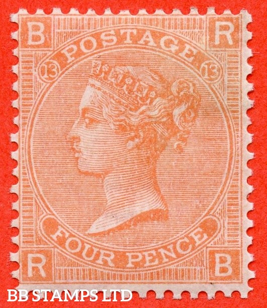 """SG. 93. J60. """" RB """". 4d Dull Vermilion. Plate 13. A very fine mounted mint example."""