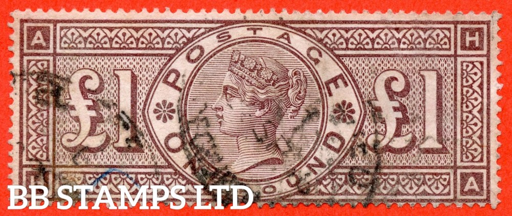 "SG. 186. K16. "" HA "". £1.00 Brown - Lilac. A fine used example of this RARE Victorian high value."