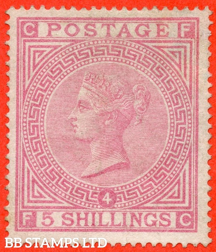 "SG. 134. J123 a. "" FC "" 5/- Rose. Plate 4. A decent average mint example of this scarce Victorian issue."