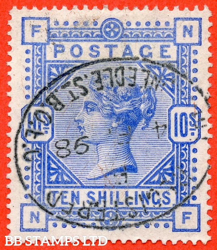 "SG. 183. K14 (2). "" NF "". 10/- ultramarine. A fine "" 4th February 1898 "" oval registered cancelled used example."