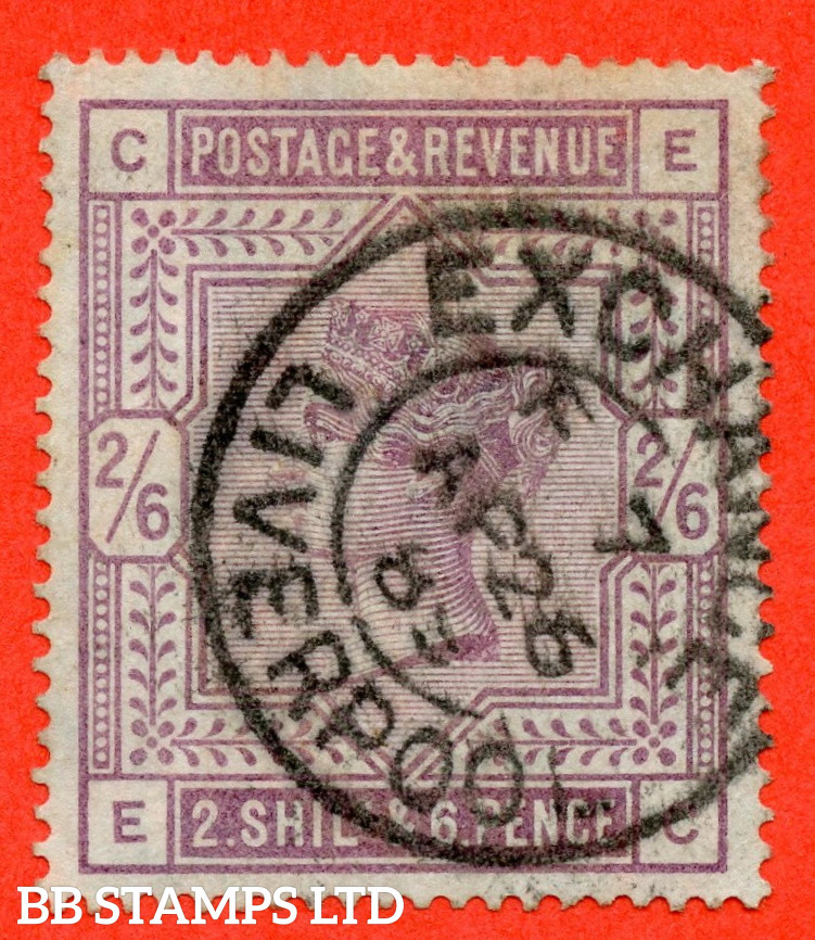 """SG. 175. K9. """" EC """". 2/6 Lilac ( blued paper ). A very fine """" 26th April 1885 LIVERPOOL """" CDS used example."""