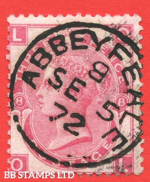 """SG. 103. J33. """" OL """" 3d Rose plate 8. A very fine """" 5th September 1872 ABBEYFEALE """" CDS used example."""